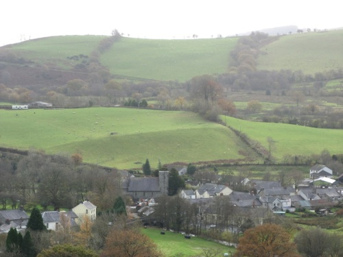 Llansawel, or Fred Price's 'sleepy hollow'. Looking south over St. Sawyl's Church.