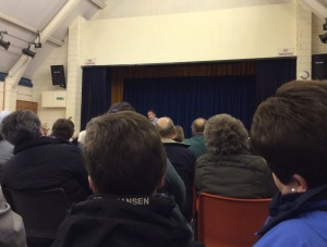 Eighty concerned residents spent almost two hours at the meeting last night in Llangadog, opposing Carmarthenshire County Council's plans to close the recycling centre serving the north and north-east of the county.  Here they are listening to Hefin Roberts of site operators All Waste Services