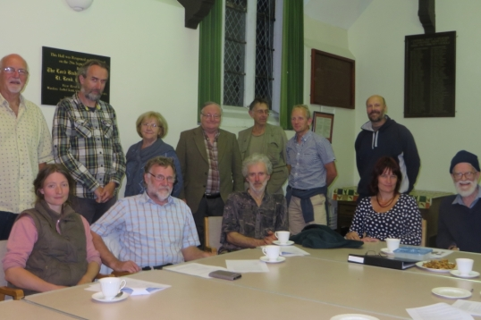 Public meeting to discuss a co-operative take-over of Organics to Go, Golden Grove. Co-op directors Anson Allen, Peter Clarke and Nick Cater are standing left, 4th from left and 2nd from right. Roger Hallam, owner of Organics to Go, is standing 2nd from left. Community food campaigner Kelly O'Brien is sitting 2nd from right.